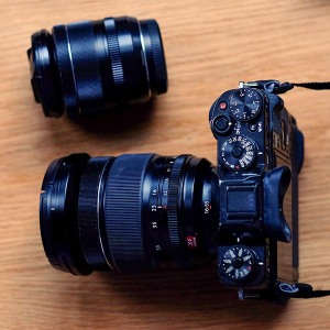 Image: 16-55 Mounted on X-T1 with battery grip. 18-55 alongside for comparison