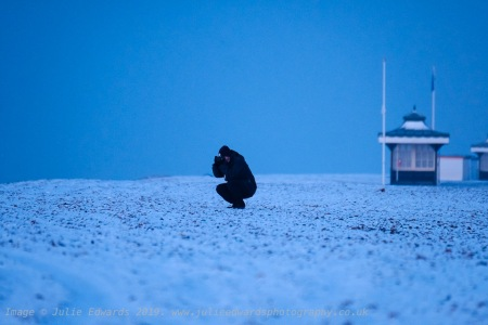 UK Weather: Snowy and icy seafront at Worthing, West Sussex