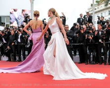 Toni Garrn and Petra Nemcova poses on the red carpet for A Hidden Life on Sunday 19 May 2019 at the 72nd Festival de Cannes, Palais des Festivals, Cannes. Pictured: Toni Garrn, Petra Nemcova. Picture by Julie Edwards/LFI/Avalon. All usages must be credited Julie Edwards/LFI/Avalon.